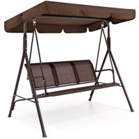 Best Choice Products 2-Person Outdoor Convertible Canopy Porch Swing - Brown