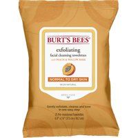 Burt's Bees Facial Cleansing Towelettes for Normal to Dry Skin, Peach and Willow Bark, 25 ct