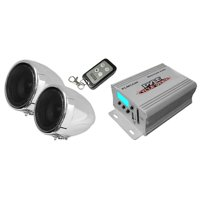 "PYLE PLMCA40 - Motorcycle Speaker and Amplifier System - 100 Watt Weatherproof w/Two 3"" Waterproof Speakers, AUX IN - Handlebar Mount ATV Mini Stereo Audio Receiver Kit Set - Also for Marine, Boat"