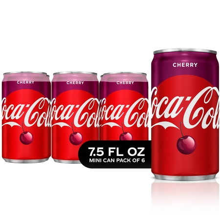 (4 pack) Cherry Coke Mini Cans Soda, 7.5 Fl Oz, 6 - Six Cans