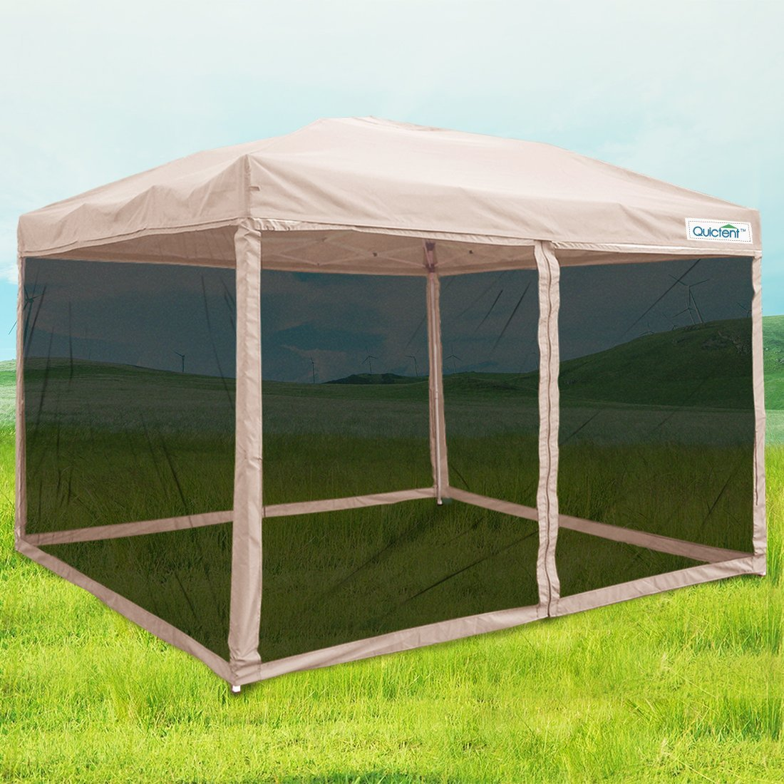 Quictent 10x10 Ez Pop up Canopy Screen House Tent with Netting Patio Gazebo Mesh Side Wall & E-Z Up Canopies