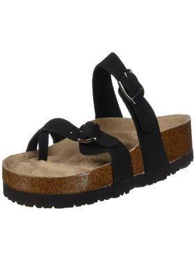 Skechers Womens Granola Leather Split Toe Casual Slide Sandals