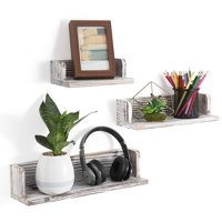Deals on NEX Floating Shelves Wall Mounted Rustic Wood Wall Shelves Set of 3