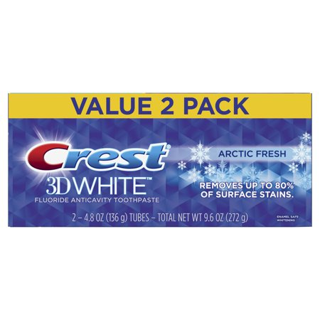 Crest 3D White Arctic Fresh Whitening Toothpaste, Icy Cool Mint, 4.8 oz (Pack of 2)