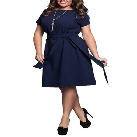 Nicesee Womens Plus Size Solid Color Short Sleeve Belt Dress Evening Party Cocktail - Plus Size Goddess Dresses
