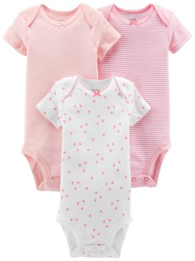 Basic Short Sleeve Bodysuits, 3-pack (Baby Girls)