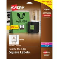 """Avery Print-to-the-Edge Square Labels with TrueBlock, 2"""" x 2"""", White, 300 Count"""