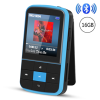 AGPTEK 16GB Bluetooth 4.0 MP3 Player, Wearable Clip Supports Playlist FM Radio with Sport Armband, up to 128GB, G15 Blue