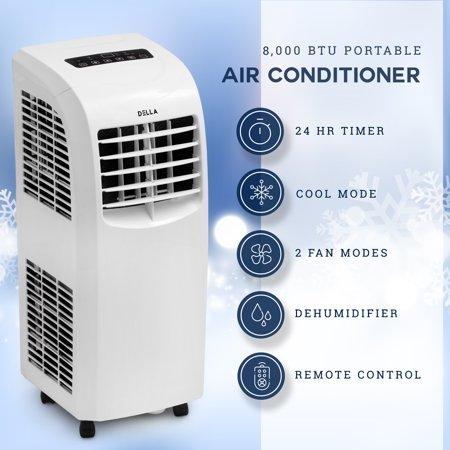 Della Portable Air Conditioner Cooling Fan 8,000 BTU Dehumidifier A/C Remote Control w/ Window Vent Kit