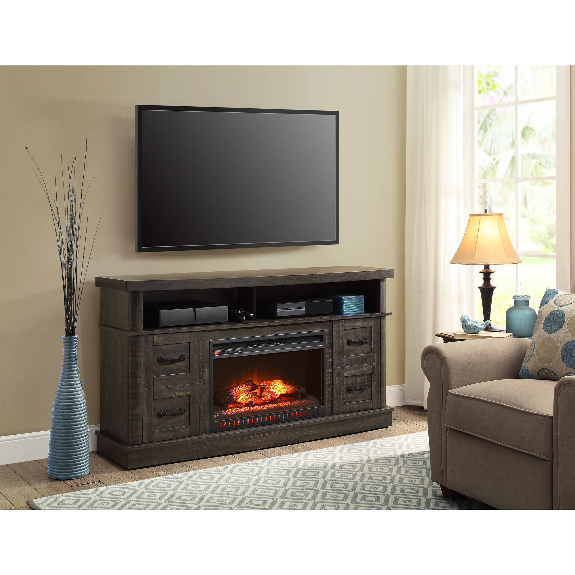 Sarah TV Stands: Whalen Weathered Dark Pine Media Fireplace ...