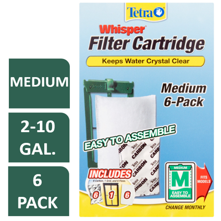 Tetra Whisper Replacement Carbon Aquarium Filter Cartridges, Med 6 (Best Saltwater Aquarium Filter)