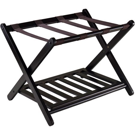 Winsome Reese Wooden Luggage Rack with Shelf, Espresso - Kuryakyn Luggage Rack