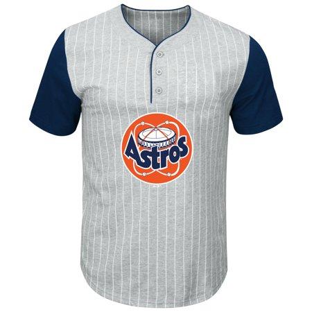 Houston Astros Pinstripe - Houston Astros Majestic Big & Tall Cooperstown Collection Pinstripe Henley Raglan T-Shirt - Gray/Navy