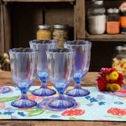The Pioneer Woman Luster Blue 12.5oz Pearlized Goblet, Set of 4