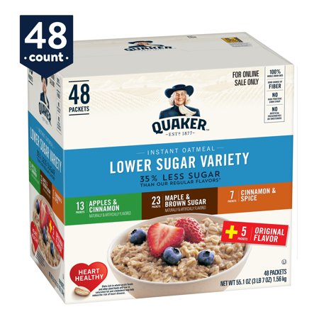 Instant Oatmeal Maple Brown Sugar - Quaker Instant Oatmeal, Lower Sugar Variety Pack, 48 Packets