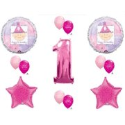 Baby Girl 1st First Happy Birthday Party Balloons Decorations Supplies