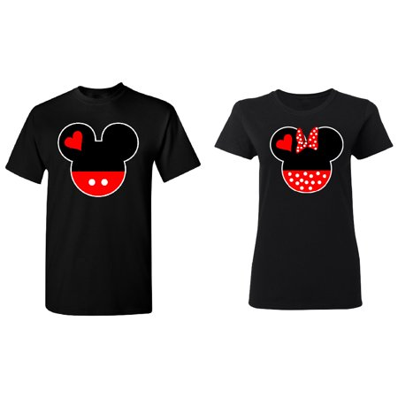Cartoon Heads Couple Matching T-shirt Set Valentines Anniversary Christmas Gift Men Small Women Small - Cartoon Character Couples