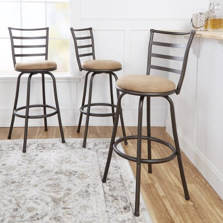 Graphite Finish Bar - Mainstays Adjustable-Height Swivel Barstool, Hammered Bronze Finish, Set of 3