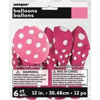 """12"""" Latex Hot Pink Polka Dot Balloons, 6ct"""