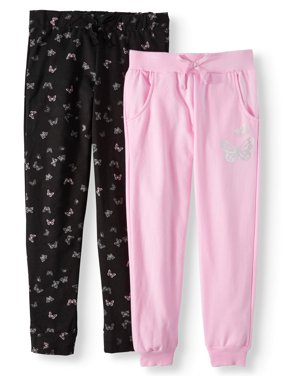Girls' Fleece Joggers, 2-Pack