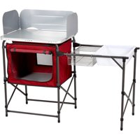 Ozark Trail Deluxe Camp Kitchen with Storage and Sink Table, Red