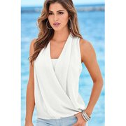 Women Chiffon Sleeveless Shirt and Blouse White
