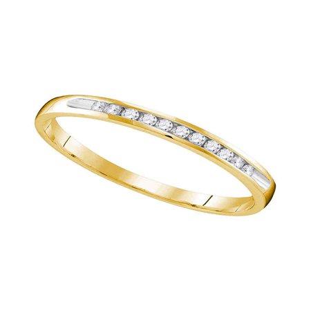 Ladies Diamond Anniversary Ring (10k Yellow Gold Womens Round Diamond Wedding Anniversary Bridal Band Ring 1/10)