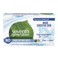 Seventh Generation Free & Clear Fragrance Free Fabric Softener Sheets, 80 sheets