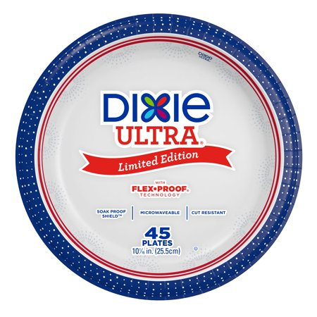 Dixie Ultra Paper Dinner Size Plates, 45ct, Patriotic Limited Edition - High Quality Paper Plates