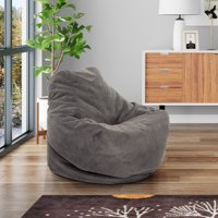 Mainstays Soft Sided Microfiber Bean Bag Lounger Chair, Multiple Colors