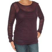 998e44263acd19 INC Womens Purple Sheer Long Sleeve Jewel Neck Top Size: L