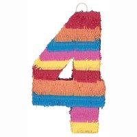 Number 4 Pinata, 22 x 14.25 in, Multicolor, 1ct