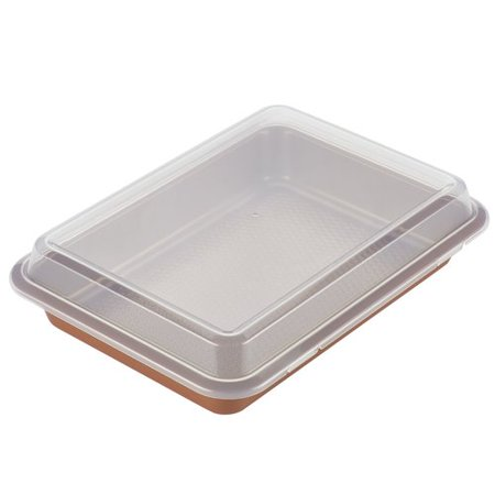 Ayesha Curry Bakeware Covered Cake Pan, 9-Inch x 13-Inch, Copper Bakeware 10 Inch Fluted