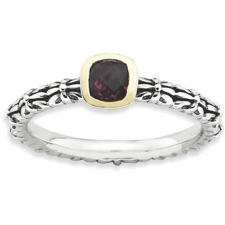 Checker-Cut Rhodolite Garnet Sterling Silver and 14kt Gold Ring (14k Rhodalite Garnet Ring)