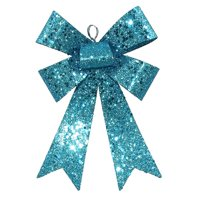 """Vickerman 7"""" Sequin and Glitter Bow Christmas Ornament - Turquoise Blue"""