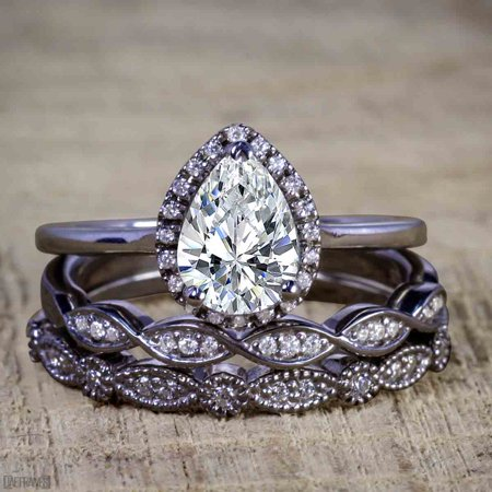 Black And Gold Wedding (Bestselling 2.50 Carat Pear cut Moissanite and Diamond Halo Trio Wedding Bridal Ring Set in Black)