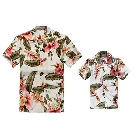 Matching Hawaiian Luau Outfit Men Boy Shirts in Cream Rafelsia - Luau Items
