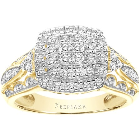 Certified Diamond Anniversary Ring (Keepsake Sentiment 3/8 Carat T.W. Certified Diamond 10kt Yellow Gold)