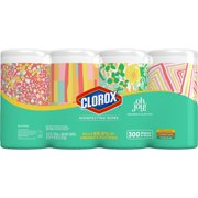Clorox Disinfecting Wipes (300 ct Oh Joy Value Pack), Bleach Free Cleaning Wipes - 4 Pack - 75 ct Each