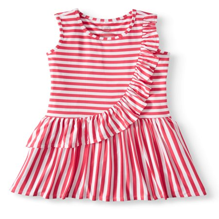 Wonder Nation Asymmetric Ruffle Dress (Little Girls, Big Girls & Big Girls Plus) - Girls Dresses Size 7