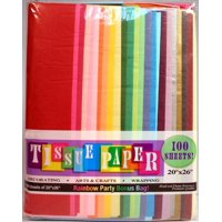 """Assorted Rainbow Color Tissue Paper Pack, 20"""" x 26"""" Sheets,100 ct"""