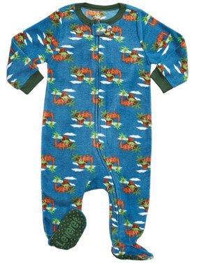Leveret Fleece Footed Pajama Sleeper Dinosaur Boy 12-18 Months