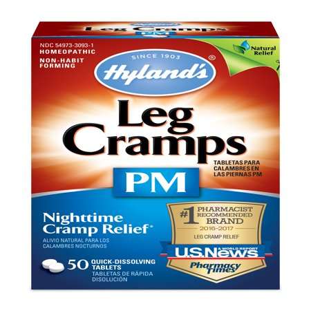 Hyland's Night Time Leg Cramps PM Tablets, Natural Cramp Pain Relief with Restful Sleep, 50