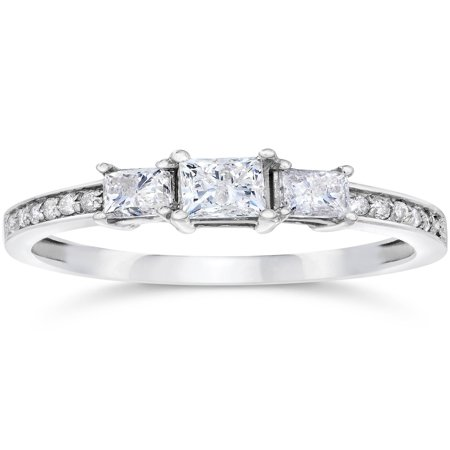 1/2ct Three Stone Princess Cut Diamond Engagement Ring 14K White Gold