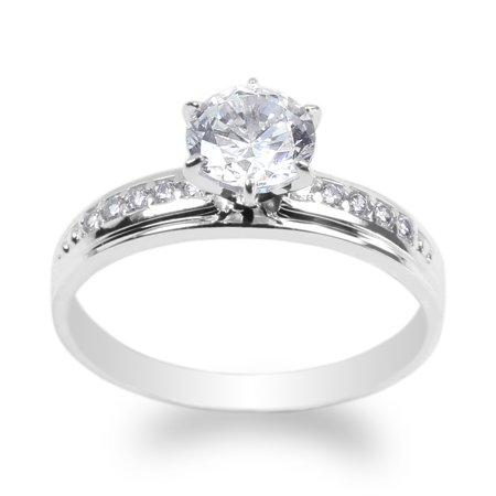 10K White Gold 1.0ct Clear CZ Fancy Engagement Solitaire Ring Size 4-10