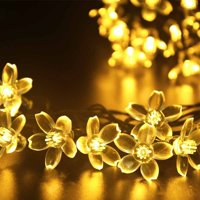 Christmas string Lights, Cherry Blossom Solar Christmas Lights for patio 23ft 50 LED Decorative Outdoor String Lights for Home,Patio,Garden,Wedding,Party (White)