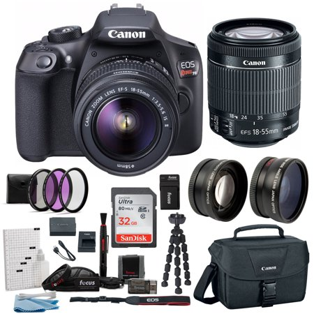 Canon EOS Rebel T6 Digital Camera: 18 Megapixel 1080p HD Video DSLR Bundle With Wide Angle 18-55 MM Lens 32GB SD Card Mini Tripod Filter Kit, Canon Gadget Bag & Charger