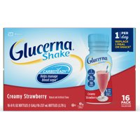 Glucerna Diabetes Nutritional Shake Creamy Strawberry To Help Manage Blood Sugar 8 fl oz Bottles (Pack of 16)