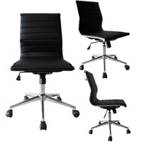 2xhome Black Contemporary Modern Ergonomic Executive Mid back PU Leather No Arms Rest Tilt Adjustable Height With Wheels Lumbar Support Swivel Office Chair Conference Room Home Task Desk Armless