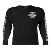 Men's Skull Lightning Crest Graphic Long Sleeve Shirt, Black, Harley Davidson